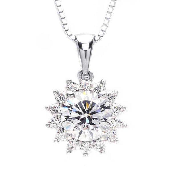Sunflower Four Prong Setting 3.0ct Round Brilliant-cut Necklace