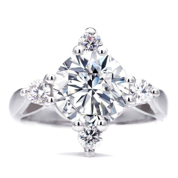 Classic Four Prong Setting White Sapphire Engagement Ring