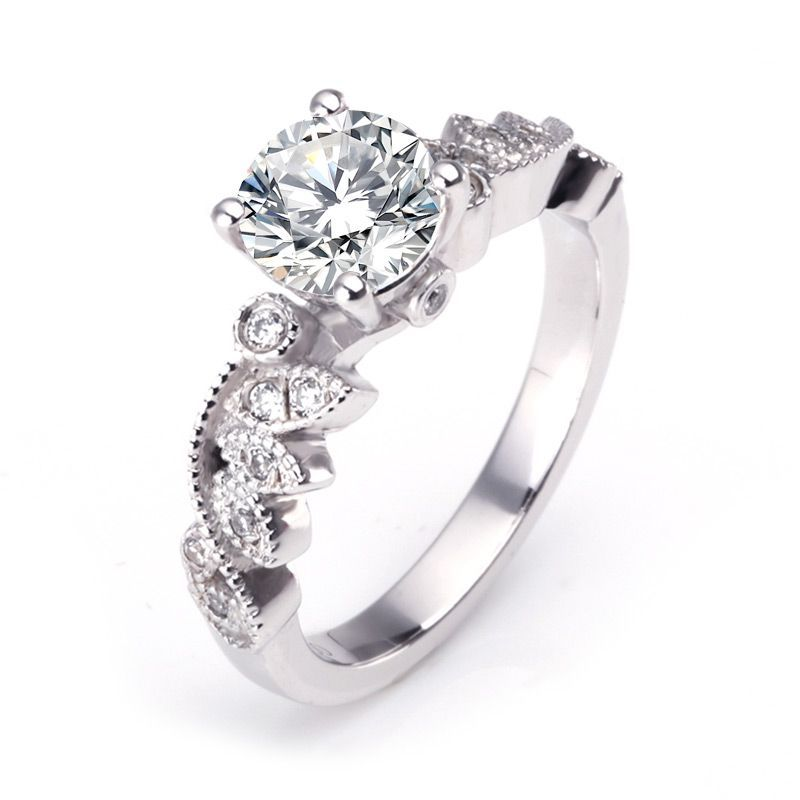Vintage Leaf Milgrain Edge Simulated White Sapphire Engagement Ring