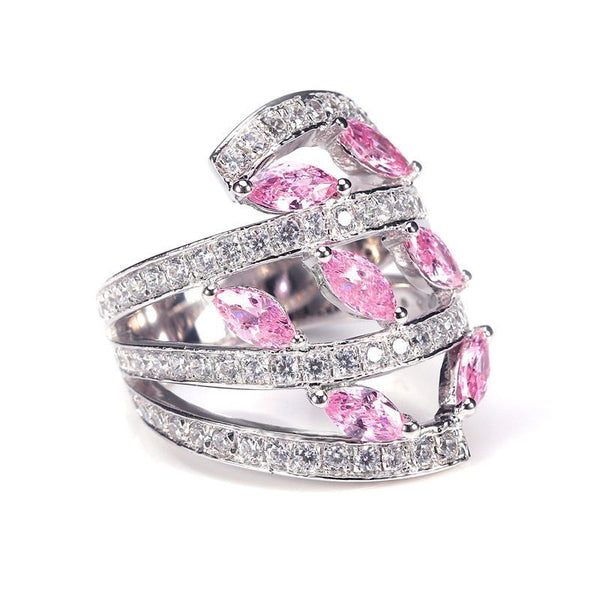 Pink Marquise-cut Sapphire Split Shank Wedding Band for Her