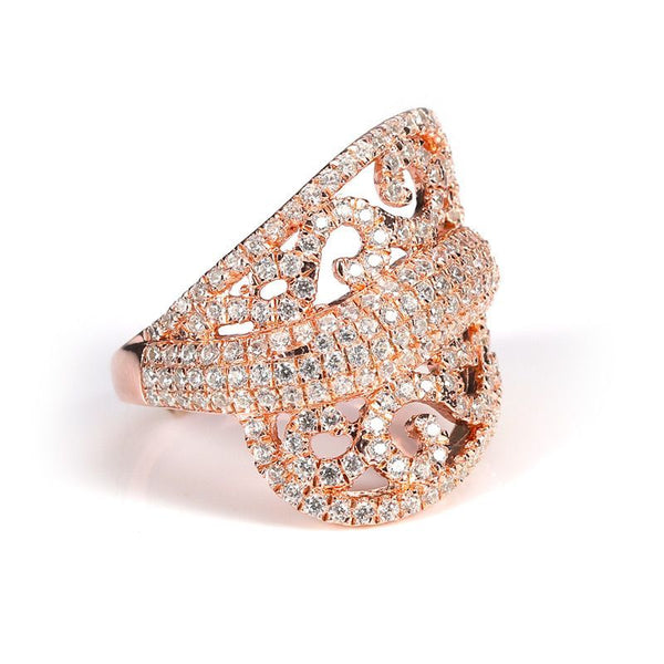 Luxury Rose Gold Plated Hollow Out Cluster Setting Ring