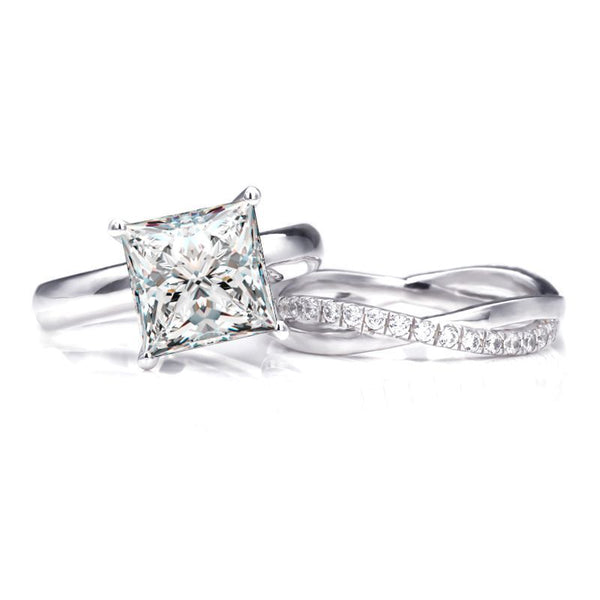 Princess Brilliant-cut 3.0CT White Sapphire Infinity Band Sterling Silver Wedding Set