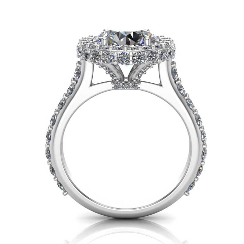 High Tower Halo White Gold Solitaire Engagement Ring