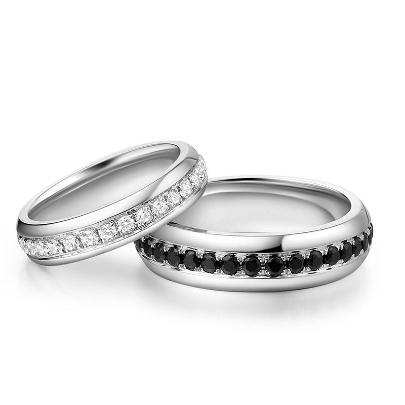 Round Brilliant-cut Black and White Sapphire Together Series Couple Rings