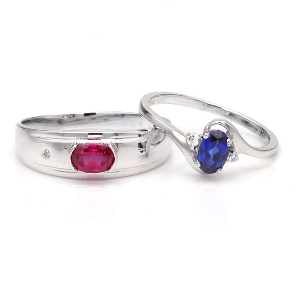 Ruby Sapphire Three Stone Thin Shank 925 Sterling Silver Couple Rings
