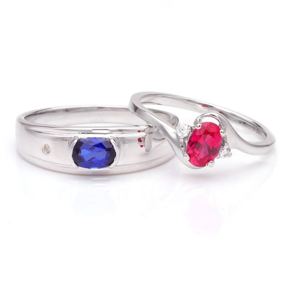 Sapphire Ruby Curved Shank 925 Sterling Silver Couple Rings