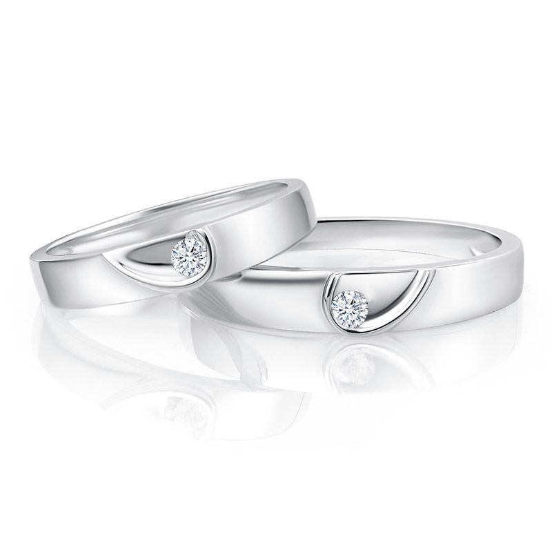 Round Brilliant-cut Half Heart Couple Rings