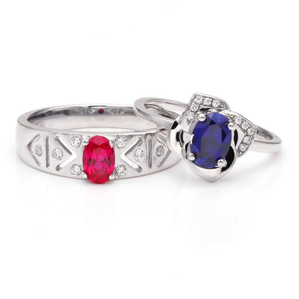 Ruby Oval-cut Sapphire Flowers 925 Sterling Silver Couple Rings