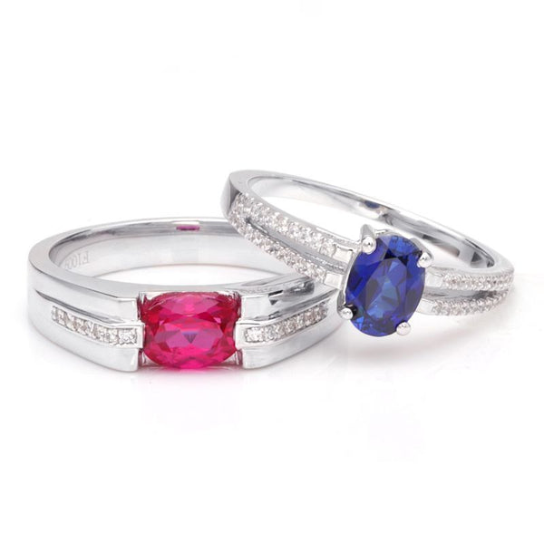 Ruby Sapphire Oval-cut Hollow 925 Sterling Silver Couple Rings