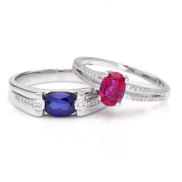 Sapphire Ruby Oval-cut Hollow 925 Sterling Silver Couple Rings