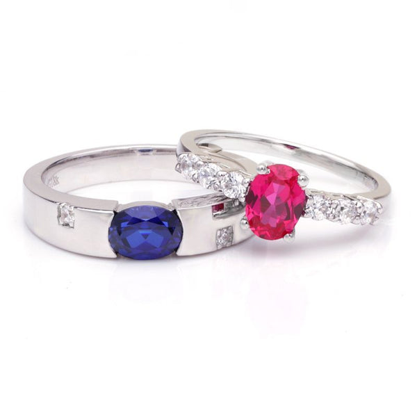 Sapphire Ruby 925 Sterling Silver Couple Rings
