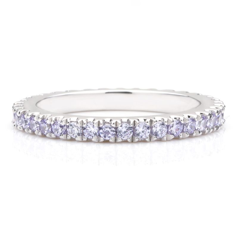 Classic Light Blue Sapphire Women's Gem-Studded Wedding Band For Her