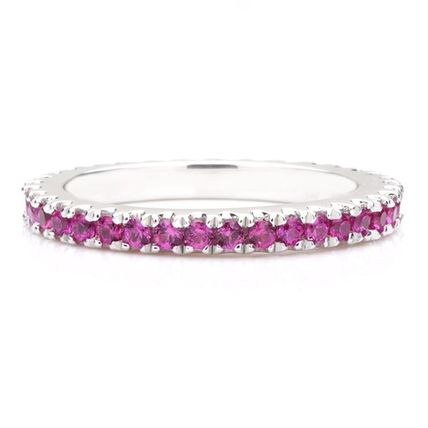 Classic Rose Sapphire Women's Gem-Studded Wedding Band For Her