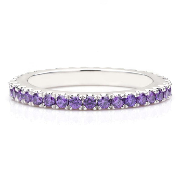 Classic Purple Sapphire Gem-Studded Wedding Band For Her