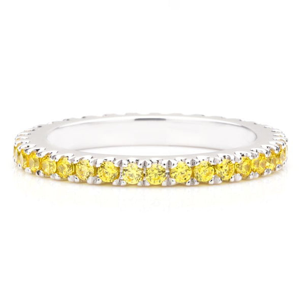 Classic Yellow Sapphire Gem-Studded Wedding Band For Her