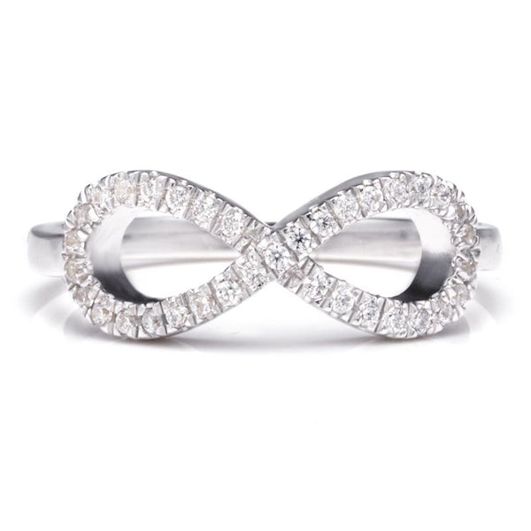 Cluster Setting White Sapphire Round Cut Infinity Rings