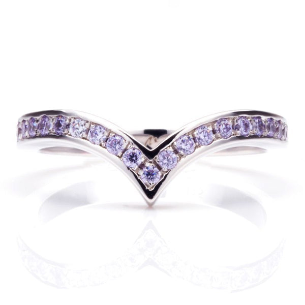 V Shape Pave Setting Light Purple Sapphire Wedding Bands