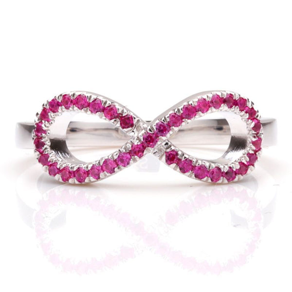 Infinity Cluster setting Rose Sapphire Round Cut Wedding Band
