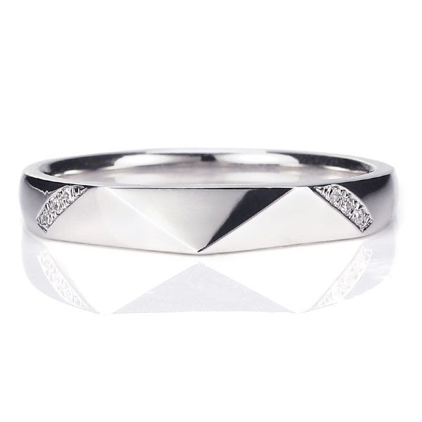 White Gold Character Rhombus Micro Sapphire Wedding Band For Her