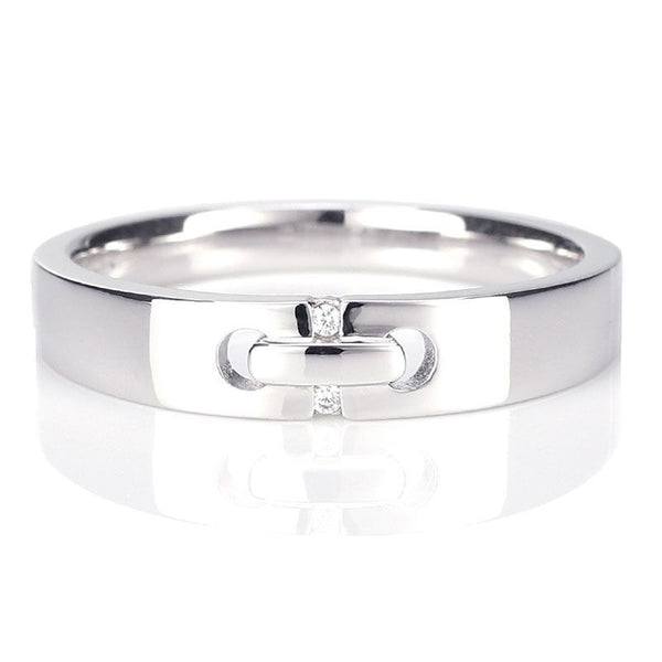 White Gold Lucky bead Two Micro Sapphire Buckle Wedding Band
