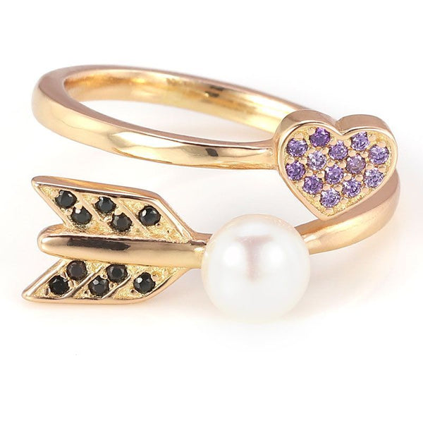 Gold Plated Heart Arrow Pearl Black and Purple Sapphires Adjustable Ring Band