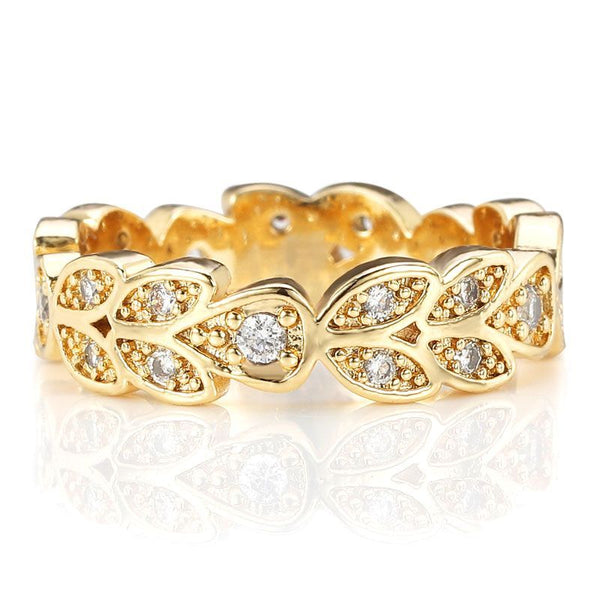 Gold Plated Willow Leaf Design Wedding Band for her