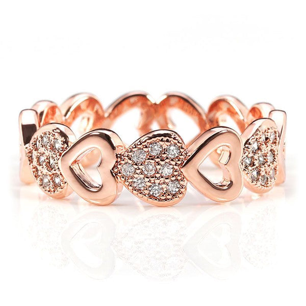 Rose Gold Plated Heart-shaped Wedding Band for her