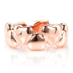 Rose Gold Plated Heart-shaped Frosted Wedding Band for her