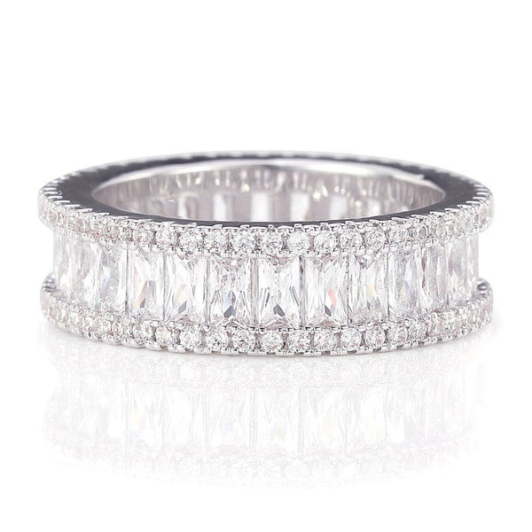 White Gold Plated Three Rows White Sapphires Wedding Band for her