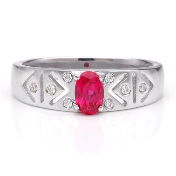 Ruby 925 Sterling Silver Engagement Wedding Band