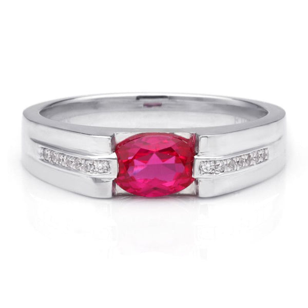 925 Sterling Silver Ruby Engagement Wedding Band