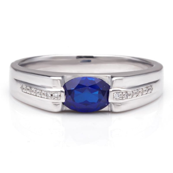 925 Sterling Silver Sapphire Engagement Wedding Band