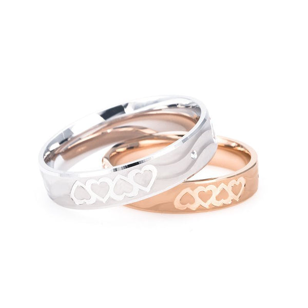 18K Rose Gold And White Gold Sparkling Hearts Wedding Band Shadow Carving Craft Couple Rings