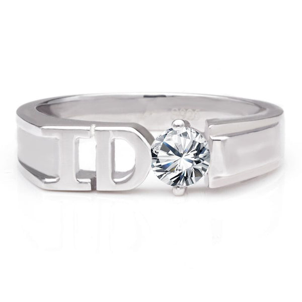 I DO Solitaire Setting White Sapphire Wedding Bands