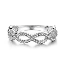 Entwined Stone Band White Sapphire Wedding Band