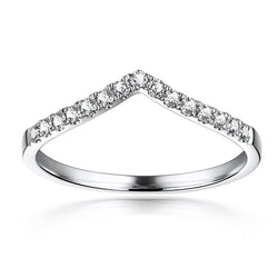 V Shape Pave Setting White Sapphire Wedding Band
