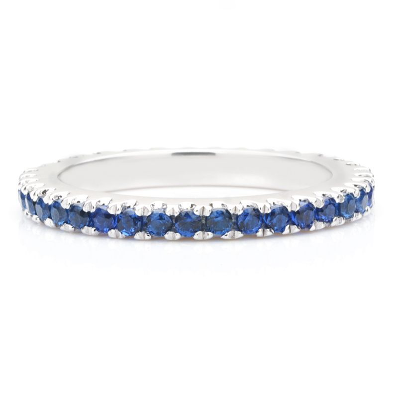 Classic Blue Sapphire Women's Gem-Studded Wedding Band For Her