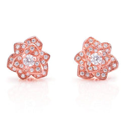 Flower Micro Created White Sapphire Stud Earrings