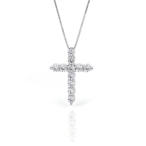 Classic Cross Brilliant-cut Created White Sapphire Necklace
