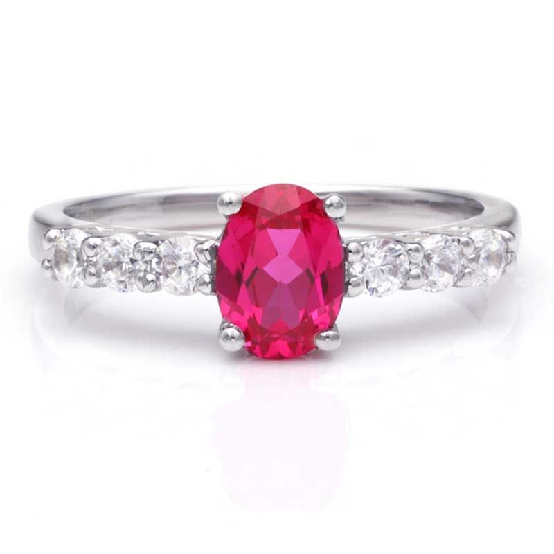 Four Claws Ruby Sterling Silver Engagement Ring
