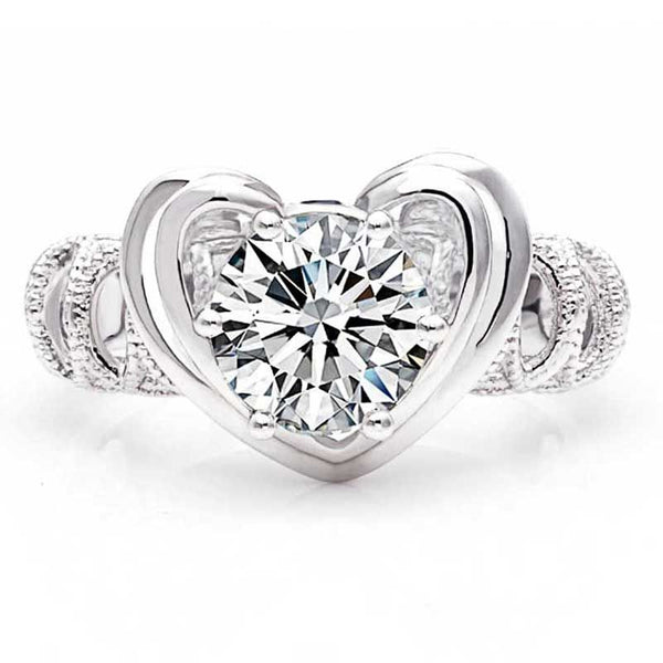2.0CT Heart Design Milgrain Round Brilliant-cut White Sapphire Ring