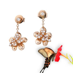 Butterfly Flower Rose Gold Tone Earrings For Women