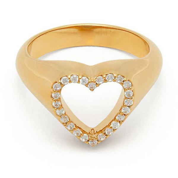 Halo Heart Cut-Out White Sapphire Fashion Ring For Women