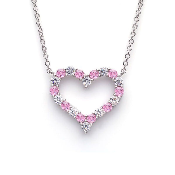 Heart Pink and White Round-cut Sapphire Necklace