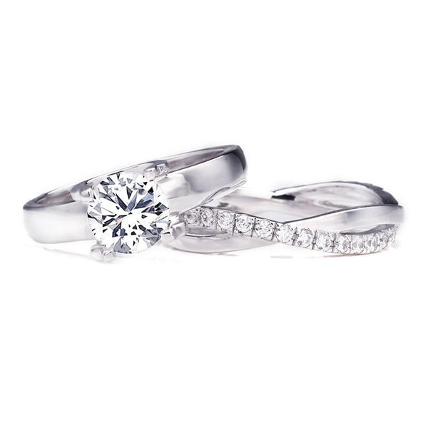 Round Brilliant-cut 1.2CT Created White Sapphire Infinity Band Sterling Silver Wedding Set