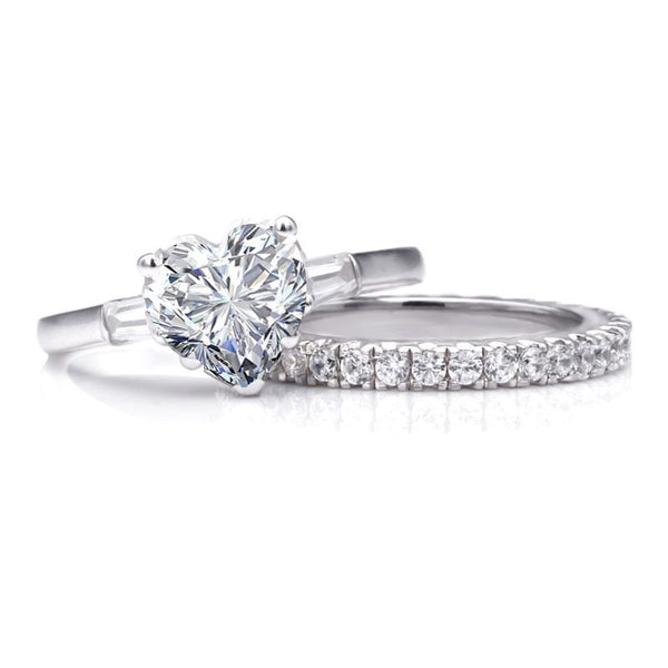 Heart Brilliant-cut White Sapphire Gem-Studded Band Sterling Silver Wedding Set