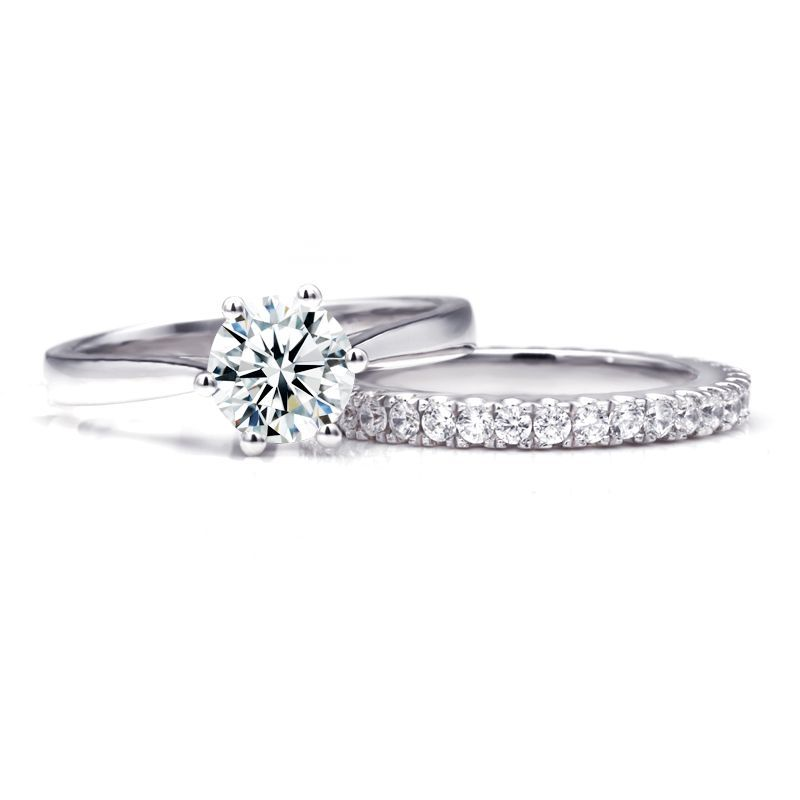 Classic Six Claws Round Brilliant-cut White Sapphire Gem-Studded Band Sterling Silver Wedding Set