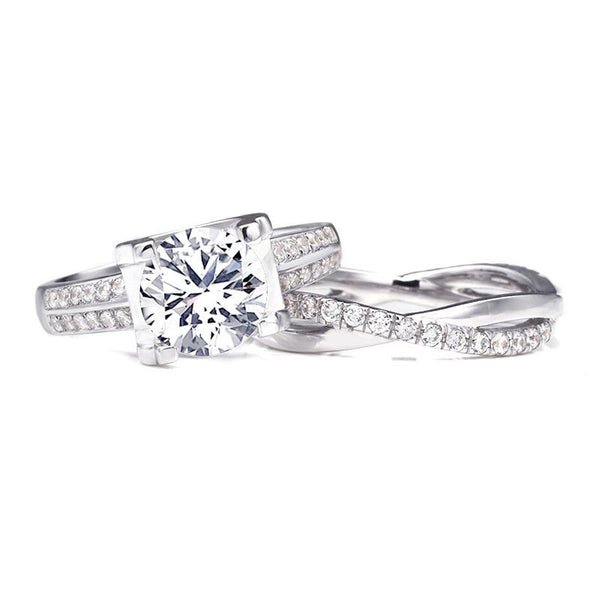 Classic Claw Setting 3.0ct Round Brilliant-cut White Sapphire Infinity Band Sterling Silver Wedding Set