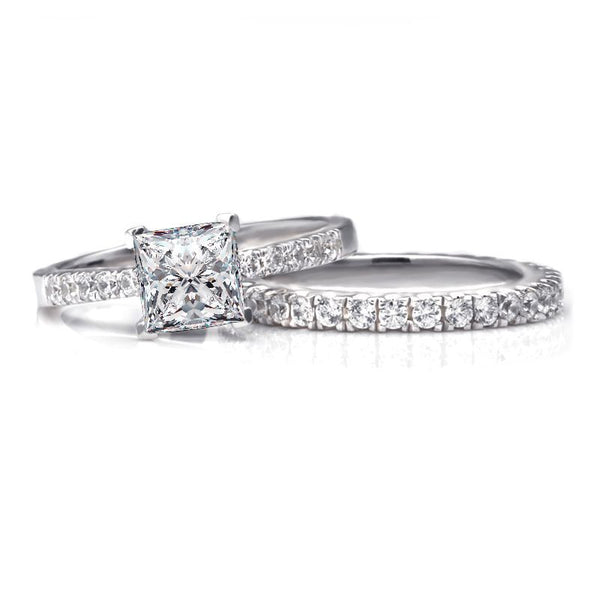 Princess Brilliant-cut White Sapphire Gem-Studded Band Sterling Silver Wedding Set