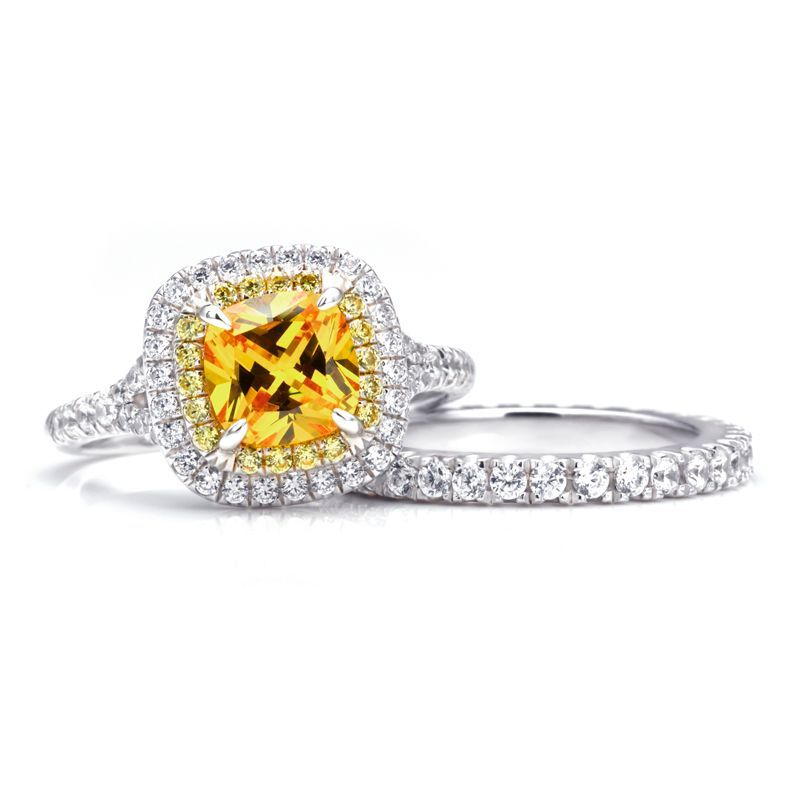 Princess Brilliant-cut Yellow Sapphire Gem-Studded Band Sterling Silver Wedding Set